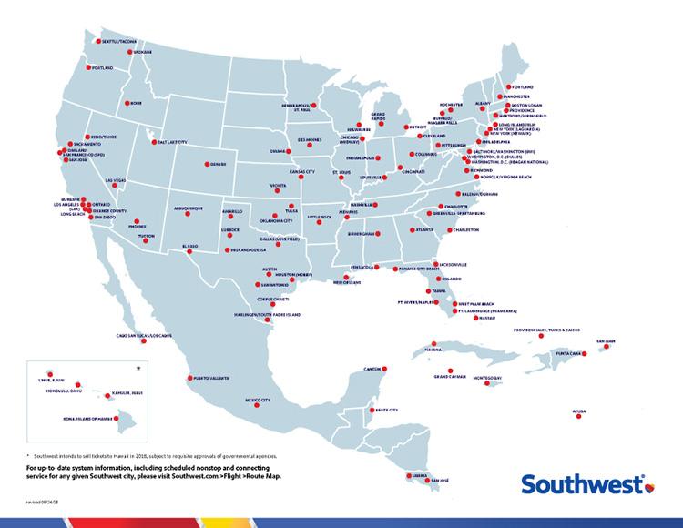 Southwest Travel Map Southwest Airlines Newsroom Southwest Travel Map